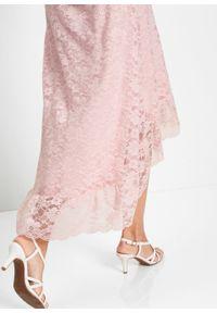 Spódnica koronkowa z dłuższym tyłem bonprix pastelowy jasnoróżowy. Kolor: różowy. Materiał: koronka. Długość: długie. Styl: elegancki