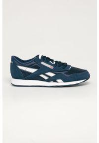 Niebieskie sneakersy Reebok Classic z okrągłym noskiem, z cholewką, Reebok Classic, na sznurówki