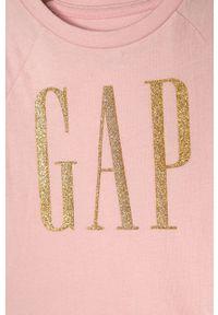 Różowa bluzka z krótkim rękawem GAP casualowa, z nadrukiem, na co dzień, z okrągłym kołnierzem