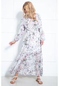 Fobya - Maxi Sukienka w Pastelowe Kwiaty z Kopertowym Dekoltem. Materiał: poliester. Wzór: kwiaty. Typ sukienki: kopertowe. Długość: maxi