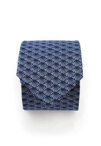 Adam Collection - Granatowy krawat męski w błękitny wzór D300. Kolor: niebieski. Materiał: tkanina, mikrofibra