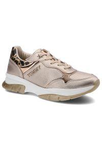 Sneakersy TOMMY HILFIGER T3A4-31174-1243341 Rose Gold 341. Okazja: do pracy, na co dzień. Materiał: skóra ekologiczna, materiał. Szerokość cholewki: normalna. Wzór: motyw zwierzęcy, nadruk. Obcas: na płaskiej podeszwie. Styl: casual