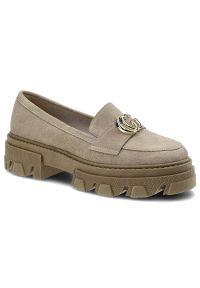 Dwunasty Shoes - Półbuty DWUNASTY SHOES 921 Beż W. Zapięcie: bez zapięcia. Kolor: beżowy. Materiał: zamsz, skóra. Szerokość cholewki: normalna. Obcas: na obcasie. Styl: elegancki. Wysokość obcasa: niski