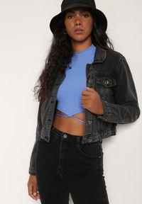 Renee - Czarna Kurtka Jeansowa Phoebice. Kolor: czarny. Materiał: jeans. Długość rękawa: długi rękaw. Długość: długie. Styl: klasyczny