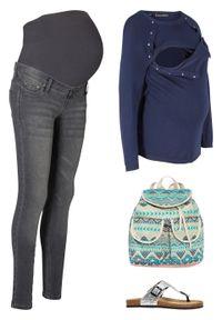 Niebieski sweter bonprix moda ciążowa