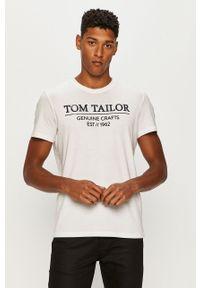 Biały t-shirt Tom Tailor Denim casualowy, na co dzień, z nadrukiem