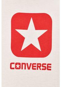 Biały t-shirt Converse z nadrukiem, z okrągłym kołnierzem, na co dzień