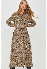 Beżowa sukienka Answear Lab z długim rękawem, na co dzień, prosta