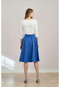 Marie Zélie - Spódnica Ada ciemnoniebieska. Kolor: niebieski. Materiał: bawełna, dzianina, guma, elastan
