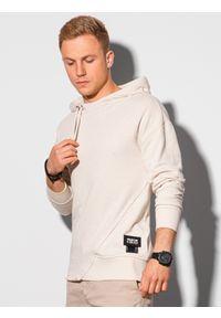 Ombre Clothing - Bluza męska z kapturem B1187 - biała - XXL. Typ kołnierza: kaptur. Kolor: biały. Materiał: bawełna, dzianina, poliester