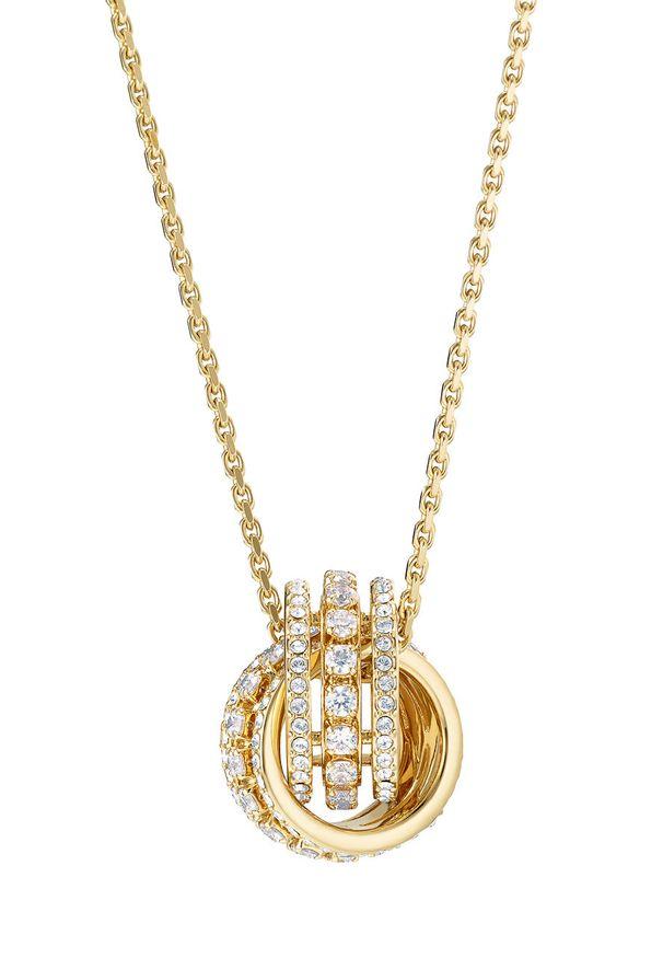 Złoty naszyjnik Swarovski ze stali, z aplikacjami, z kryształem