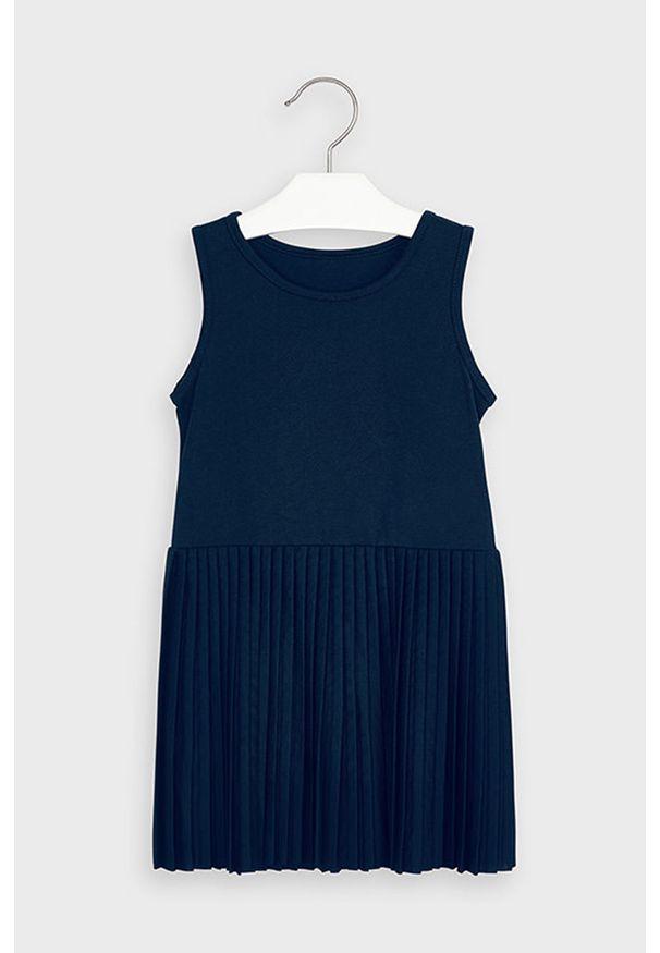 Niebieska sukienka Mayoral plisowana, z długim rękawem, casualowa, na co dzień