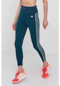 Adidas - adidas - Legginsy. Stan: podwyższony. Kolor: zielony. Materiał: dzianina