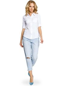 MOE - Klasyczna Koszula z Krótkim Rękawem -Biały. Kolor: biały. Materiał: elastan, wiskoza, poliester. Długość rękawa: krótki rękaw. Długość: krótkie. Styl: klasyczny