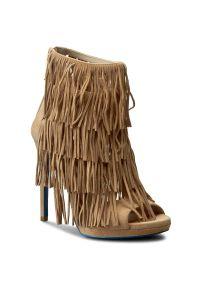 Brązowe sandały Loriblu na obcasie, na średnim obcasie, na zamek
