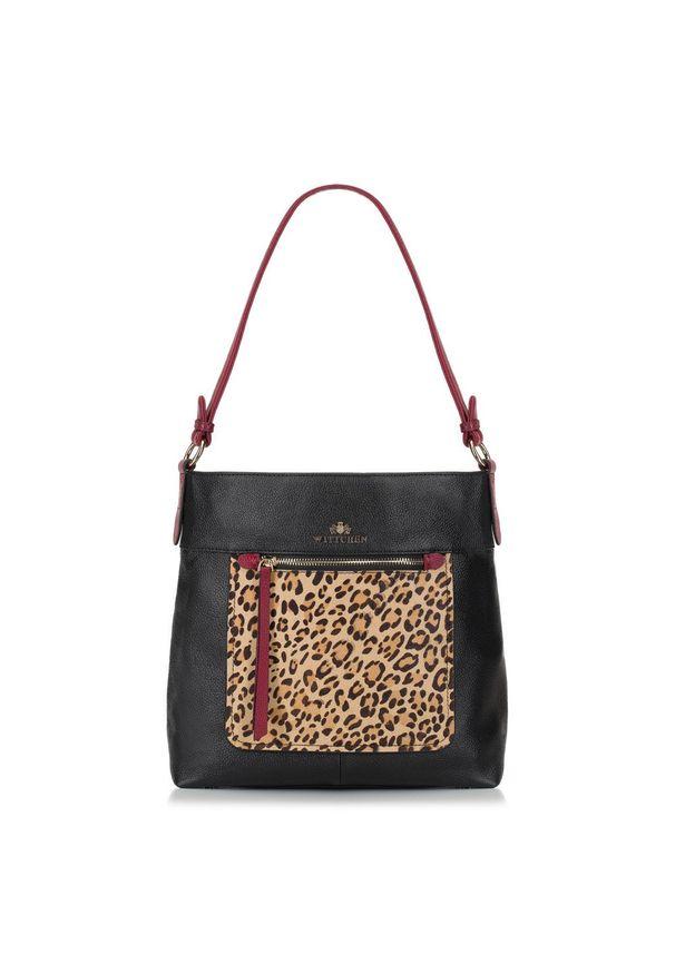 Czarna torebka worek Wittchen z motywem zwierzęcym, klasyczna