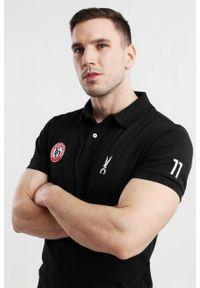 Czarna koszulka polo Edward Orlovski z krótkim rękawem, polo, z aplikacjami