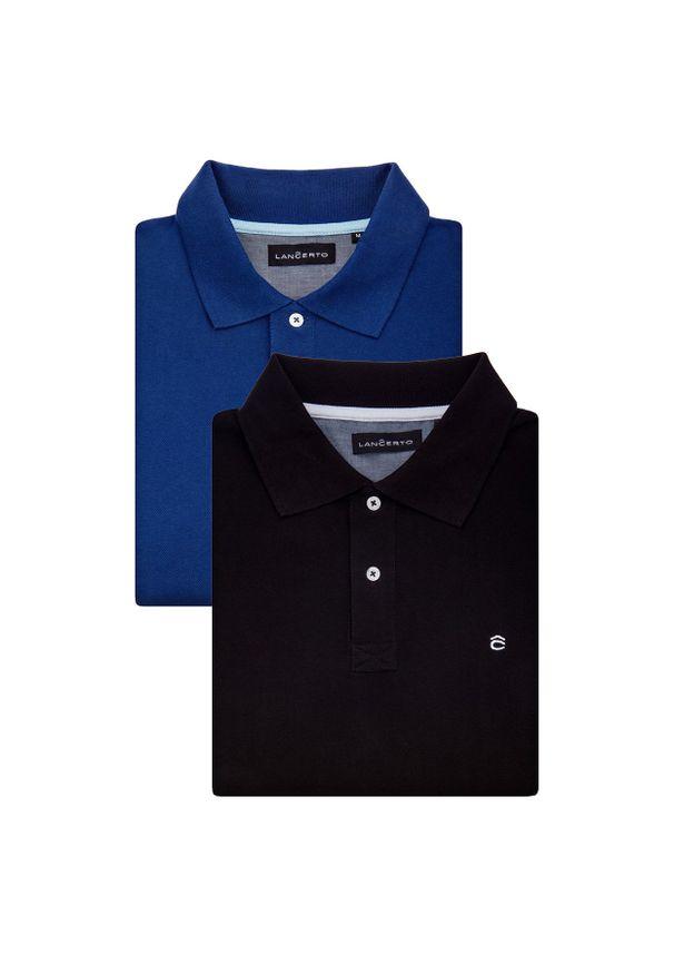Lancerto - Zestaw 2 Koszulek Polo Jack Slim. Okazja: na urodziny, na co dzień. Typ kołnierza: polo. Materiał: bawełna, tkanina. Wzór: ze splotem, gładki. Styl: klasyczny, casual