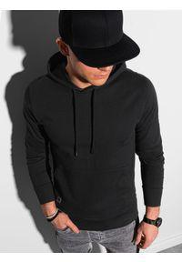 Ombre Clothing - Bluza męska z kapturem B1154 - czarna - XXL. Okazja: na co dzień. Typ kołnierza: kaptur. Kolor: czarny. Materiał: bawełna, poliester. Styl: klasyczny, casual
