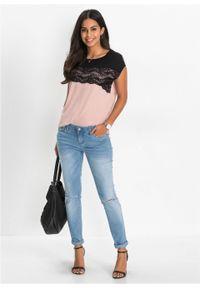 Czarna bluzka bonprix w koronkowe wzory, vintage