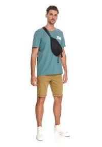 TOP SECRET - T-shirt z nadrukiem. Kolor: turkusowy. Materiał: tkanina, bawełna. Długość rękawa: krótki rękaw. Długość: krótkie. Wzór: nadruk. Sezon: lato. Styl: wakacyjny