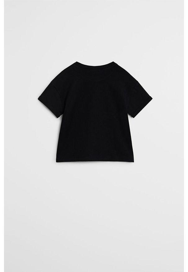 Czarna bluzka z krótkim rękawem Mango Kids z nadrukiem, casualowa