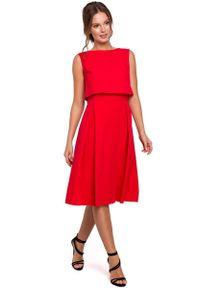 Czerwona sukienka wizytowa MAKEOVER z dekoltem na plecach