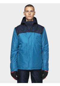 4f - Kurtka narciarska męska KUMN002 - ciemny granat. Typ kołnierza: kaptur. Kolor: niebieski. Materiał: materiał, poliester. Sezon: zima. Sport: narciarstwo