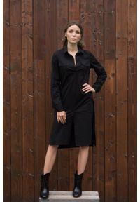 VEVA - Szmizjerka - czarna sukienka koszulowa Eternity. Okazja: do pracy. Kolor: czarny. Materiał: skóra. Długość rękawa: długi rękaw. Typ sukienki: koszulowe, szmizjerki. Styl: sportowy, klasyczny, elegancki #4
