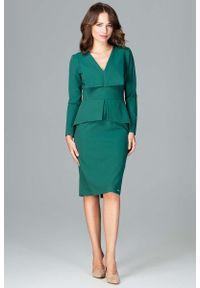 Zielona sukienka Katrus wizytowa, baskinka