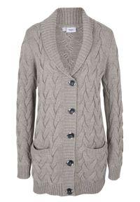 Sweter rozpinany z szalowym kołnierzem i wzorem w warkocze bonprix szary melanż. Kolor: szary. Wzór: melanż