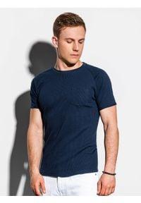 Niebieski t-shirt Ombre Clothing klasyczny