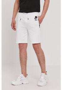 Białe szorty Karl Lagerfeld z nadrukiem, klasyczne, na co dzień