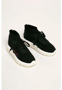 Czarne buty sportowe Love Moschino na średnim obcasie, na obcasie, z cholewką, na sznurówki