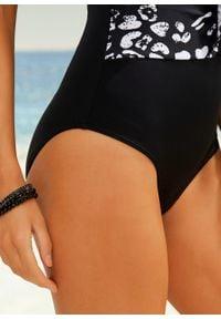 Kostium kąpielowy shape Level 1, przyjazny dla środowiska bonprix czarno-biały w animalistyczny deseń. Kolor: czarny. Materiał: materiał
