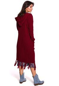 Sweter długi, boho, z kapturem, z długim rękawem