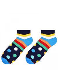 More - Ciemnogranatowe skarpety w paski i kropki SK160. Kolor: niebieski. Materiał: bawełna, poliamid, elastan. Wzór: kropki, paski