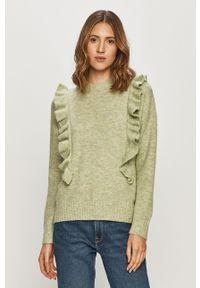Miętowy sweter Jacqueline de Yong casualowy, długi, z długim rękawem, na co dzień