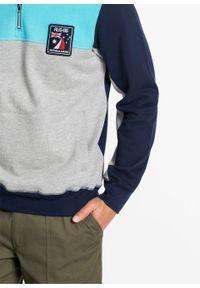 Bluza z zamkiem bonprix jasnoszary melanż - morski - ciemnoniebieski. Typ kołnierza: kołnierzyk stójkowy. Kolor: szary. Wzór: melanż