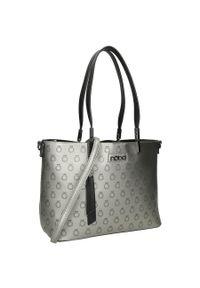 Nobo - Torebka damska srebrna NOBO NBAG-K0530-C025. Kolor: srebrny. Dodatki: z breloczkiem. Materiał: skórzane. Styl: klasyczny. Rodzaj torebki: na ramię