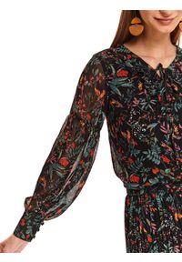 Czarna bluzka TOP SECRET długa, do pracy, w kolorowe wzory