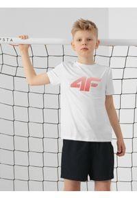 4f - T-shirt chłopięcy (122-164). Kolor: biały. Materiał: włókno