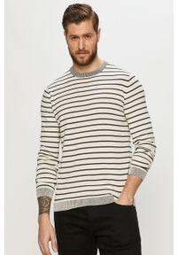 Biały sweter Only & Sons długi, casualowy, na co dzień