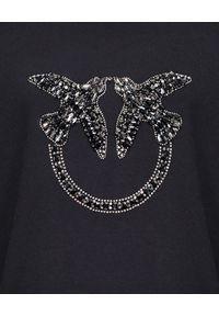 Pinko - PINKO - Czarna bluza z Love Birds Nelly 2. Kolor: czarny. Materiał: jeans, bawełna. Długość rękawa: długi rękaw. Długość: długie. Wzór: aplikacja