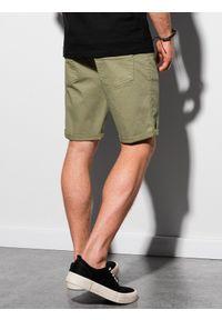 Ombre Clothing - Krótkie spodenki męskie casual W303 - khaki - XXL. Okazja: na co dzień. Kolor: brązowy. Materiał: tkanina, bawełna, elastan. Długość: krótkie. Sezon: lato. Styl: casual