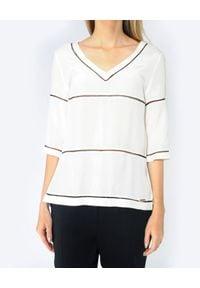 CRISTINAEFFE - Bluzka z czarnymi przeszyciami. Okazja: na co dzień. Kolor: biały. Materiał: wiskoza. Wzór: ażurowy. Styl: casual