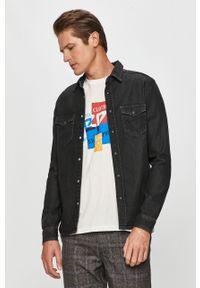 Czarna koszula Pepe Jeans na co dzień, długa, klasyczna, z klasycznym kołnierzykiem