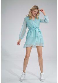 Figl - Zwiewna Sukienka Szyfonowa z Kopertowym Dekoltem - Miętowa. Kolor: miętowy. Materiał: szyfon. Typ sukienki: kopertowe