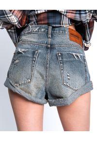 ONETEASPOON - Spodenki Bandits Mid Waist. Kolor: niebieski. Materiał: jeans. Wzór: aplikacja. Styl: vintage, rockowy
