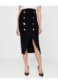 Balmain - BALMAIN - Wełniana spódnica z guzikami. Okazja: na spotkanie biznesowe. Kolor: czarny. Materiał: wełna. Wzór: aplikacja. Styl: biznesowy, klasyczny